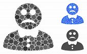 Sad Boy Mosaic Of Round Dots In Various Sizes And Shades, Based On Sad Boy Icon. Vector Round Dots A poster