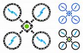 Quadcopter Mosaic Of Round Dots In Various Sizes And Color Hues, Based On Quadcopter Icon. Vector Ro poster