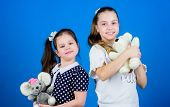 Sisters Or Best Friends Play With Toys. Sweet Childhood. Childhood Concept. Kids Adorable Cute Girls poster