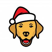 Labrador Retriever Dog Wearing Santa Claus Hat - Isolated Outlined Vector Illustration poster