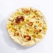 Delicious fried focaccia with rosemary top view. Italian cuisine, fastfood restaurant menu item. Tra poster