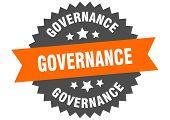 Governance Sign. Governance Orange-black Circular Band Label poster
