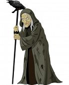 stock photo of clip-art staff  - Illustration of old Witch with  raven - JPG