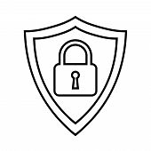 Secure Internet Icon. Protective Shield Sign Digital Security With The Image Of A Padlock. Symbol Se poster