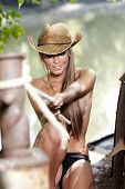 stock photo of cowgirls  - Sexy Cowgirl - JPG