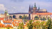 City Summer Landscape - View Of The Hradcany Historical District Of Prague And Castle Complex Prague poster
