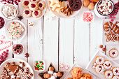Cookies, Christmas, Frame, Border, Holiday, Table, Gingerbread, Men, Sweets, Festive, Background, De poster