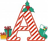 Capital Letter A With Red And White Candy Cane Pattern And Christmas Design Elements Isolated On Whi poster