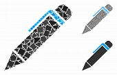 Pen Composition Of Rough Elements In Various Sizes And Color Tinges, Based On Pen Icon. Vector Tuber poster