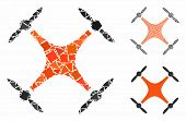 Airdrone Mosaic Of Unequal Elements In Various Sizes And Color Tinges, Based On Airdrone Icon. Vecto poster