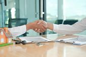 Client Shaking Hands To Realtor Mortgage Insurance Broker Lawyer. Customer Handshaking With Financia poster