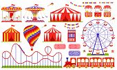 Amusement Park, Circus, Carnival Fair Theme. Vector. Set With Ferris Wheel, Tent, Carousel, Roller C poster