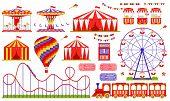 Amusement Park, Circus, Carnival Fair Theme. Vector. Set With Ferris Wheel, Tent, Carousel, Roller C poster