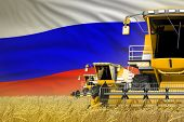 3 Yellow Modern Combine Harvesters With Russia Flag On Rye Field - Close View, Farming Concept - Ind poster