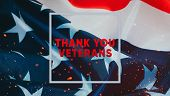 Text Of Gratitude To Veterans In A Frame On The Background Of The Flag Of The United States Of Ameri poster