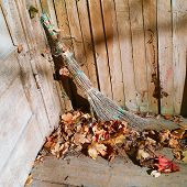 Removing Fallen Leaves From Veranda Floor, A  Broom In The Center Of Composition poster