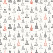 Seamless Pattern With Doodle Christmas Trees. Can Be Used For Wallpaper, Pattern Fills, Textile, Web poster