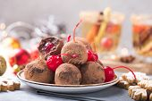 New Year Cake. Christmas Sweet Candies On The Dessert Table . Balls Of Biscuit With Cherry - Loli Po poster