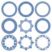 Vector Set Of Round Blue Frames In Traditional And Modern Hellenic Style Isolated On White Backgroun poster