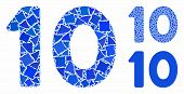 10 Digits Text Mosaic Of Bumpy Pieces In Variable Sizes And Color Hues, Based On 10 Digits Text Icon poster