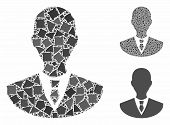Manager Mosaic Of Abrupt Items In Variable Sizes And Color Tones, Based On Manager Icon. Vector Abru poster