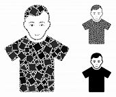 Guy Mosaic Of Bumpy Pieces In Various Sizes And Shades, Based On Guy Icon. Vector Humpy Pieces Are C poster