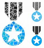 Army Star Award Mosaic Of Trembly Pieces In Different Sizes And Shades, Based On Army Star Award Ico poster