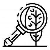 Leaf Under Magnify Glass Icon. Outline Leaf Under Magnify Glass Vector Icon For Web Design Isolated  poster