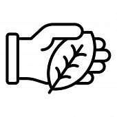 Hand Keep Leaf Icon. Outline Hand Keep Leaf Vector Icon For Web Design Isolated On White Background poster