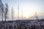 Morning Frost And Mists Over Meadows At Dawn. Frosted Autumn Meadow At Dawn. poster