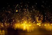Golden Glitter Bokeh Lighting Texture Blurred Abstract Background For Birthday, Anniversary, Wedding poster