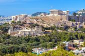 Athens Cityscape In Summer, Greece. Acropolis Hill With Famous Old Parthenon, Top Landmark Of Athens poster