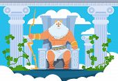 Cartoon Zeus. Legendary God Character Of Ancient Greek Mythology On Olympus Mountain. Vector Mytholo poster