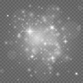 Stardust. White Christmas Isolated Sparkles, Festive Glowing Stars. Group Of Twinkle Lights. Xmas Pa poster