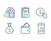 Buy Currency, Money Bag And Wallet Line Icons Set. Accounting Checklist, Bill Accounting And Smartph poster