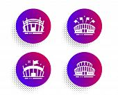 Arena Stadium, Sports Arena And Sports Stadium Icons Simple Set. Halftone Dots Button. Sport Complex poster