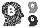 Bitcoin Mind Composition Of Raggy Elements In Variable Sizes And Color Hues, Based On Bitcoin Mind I poster
