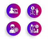 Online Education, Support And Income Money Icons Simple Set. Halftone Dots Button. Employees Wealth  poster