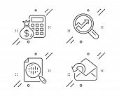Analytics, Analytics Chart And Finance Calculator Line Icons Set. Send Mail Sign. Audit Analysis, Re poster