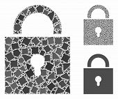 Lock Mosaic Of Inequal Elements In Different Sizes And Shades, Based On Lock Icon. Vector Inequal Pi poster