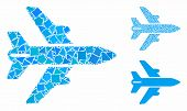 Airplane Mosaic Of Humpy Elements In Different Sizes And Color Tinges, Based On Airplane Icon. Vecto poster