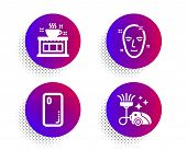 Health Skin, Coffee Shop And Smartphone Cover Icons Simple Set. Halftone Dots Button. Vacuum Cleaner poster