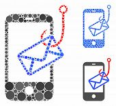 Smartphone Mail Phishing Mosaic Of Circle Elements In Different Sizes And Color Tints, Based On Smar poster
