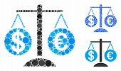 Forex Market Scales Composition Of Round Dots In Different Sizes And Color Tones, Based On Forex Mar poster