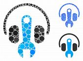 Headphones Tuning Wrench Mosaic Of Round Dots In Various Sizes And Color Tones, Based On Headphones  poster