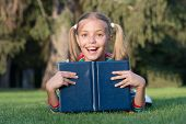 Great Place To Read. Happy Small Child Read Library Book Outdoor. Adorable Little Girl Learning To R poster