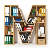Letter M. Alphabet in the form of shelves with file folder, binders and books isolated on white. Arc poster