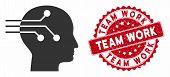 Vector Brain Interface Icon And Grunge Round Stamp Watermark With Team Work Text. Flat Brain Interfa poster