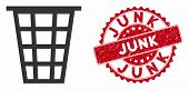 Vector Junk Icon And Rubber Round Stamp Seal With Junk Caption. Flat Junk Icon Is Isolated On A Whit poster