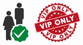 Vector For People Only Icon And Grunge Round Stamp Watermark With Vip Only Phrase. Flat For People O poster